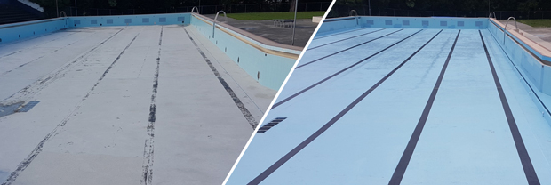 sodablast pool refurbishment